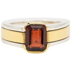 Cartier Garnet Ring in Two-Tone Silver and 18 Karat Gold