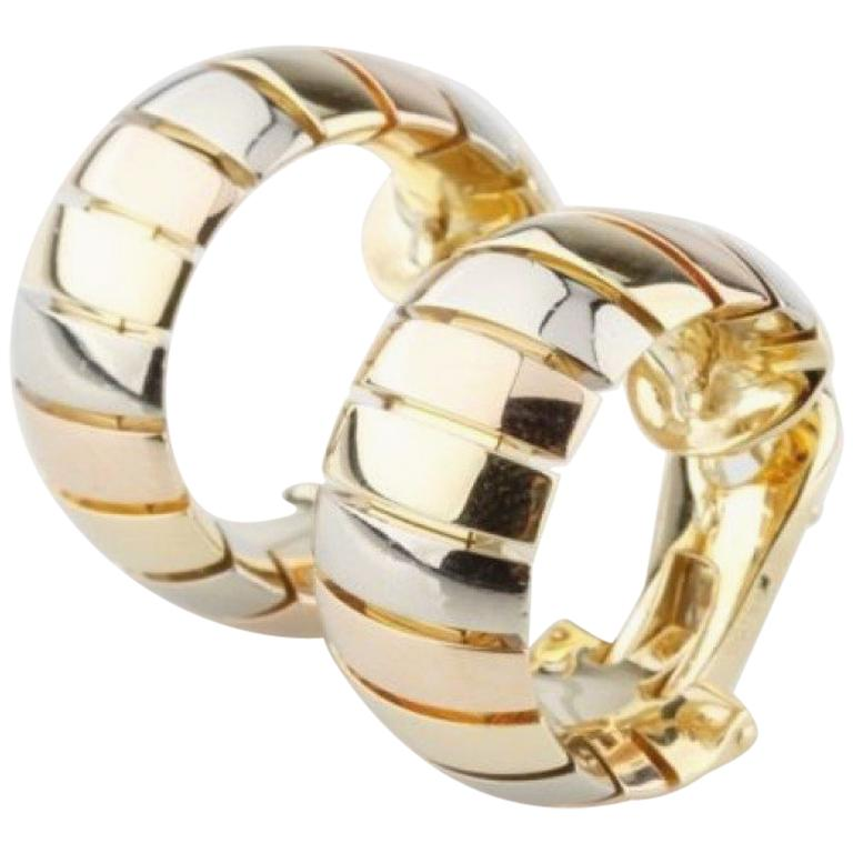 Cartier Gas Pipe Style 18 Karat Gold Tri-Color Clip Hoop Earrings For Sale