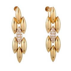 Cartier Gentiane Diamond Pave Yellow Gold Dangle Screw Back Earrings