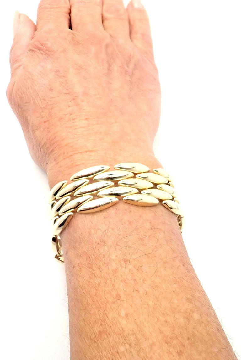 Cartier Gentiane Five-Row Wide Rice Yellow Gold Link Bracelet For Sale 6