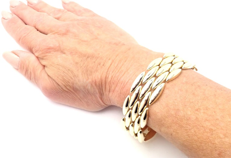 Cartier Gentiane Five-Row Wide Rice Yellow Gold Link Bracelet For Sale 7