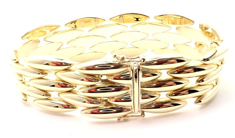 Women's or Men's Cartier Gentiane Five-Row Wide Rice Yellow Gold Link Bracelet For Sale