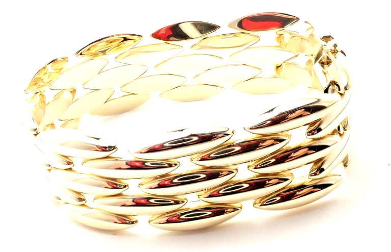 Cartier Gentiane Five-Row Wide Rice Yellow Gold Link Bracelet For Sale 1