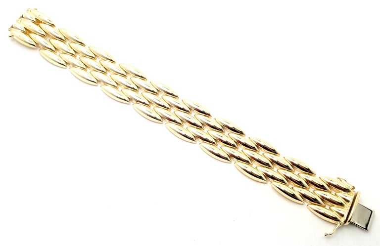Cartier Gentiane Five-Row Wide Rice Yellow Gold Link Bracelet For Sale 2