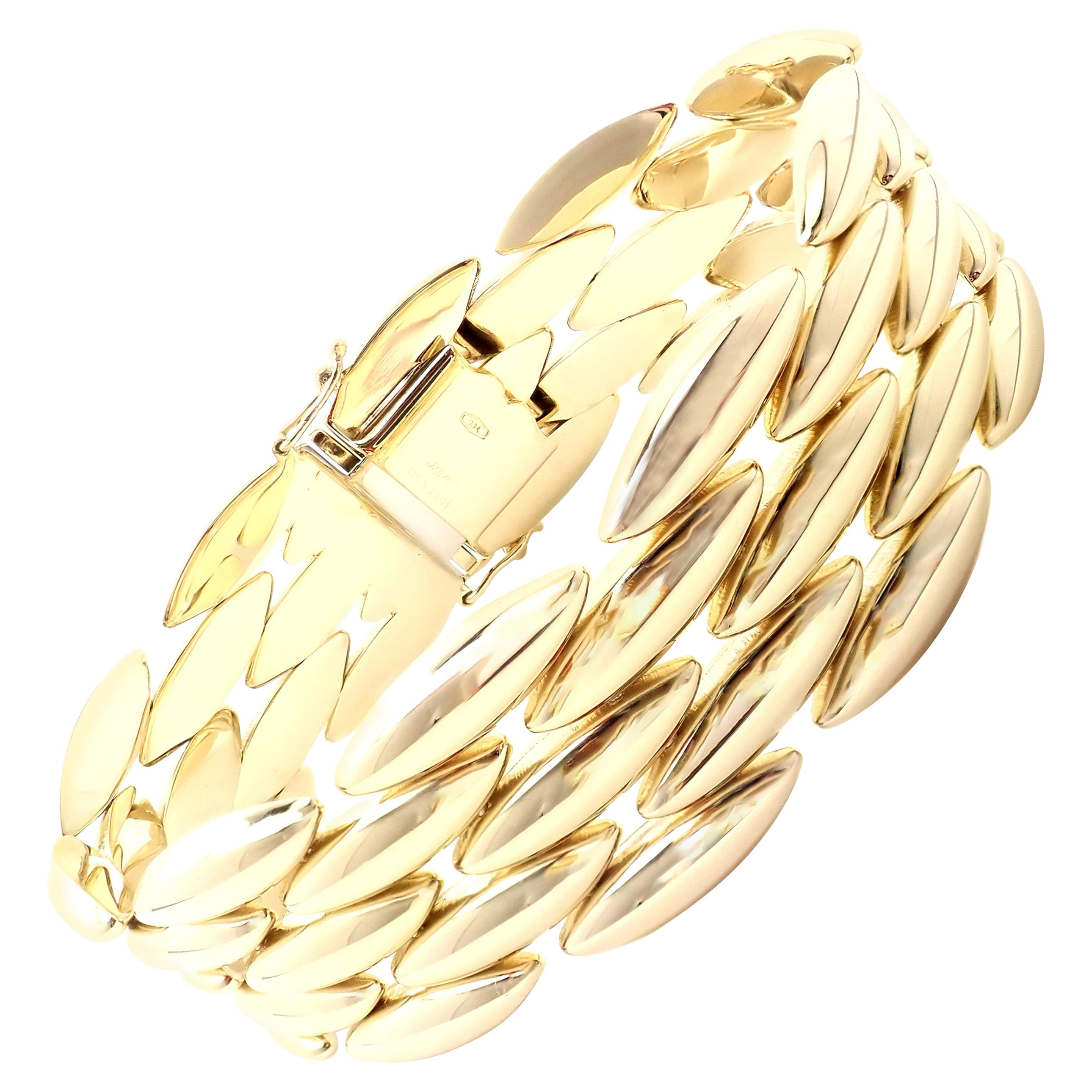 Cartier Gentiane Five-Row Wide Rice Yellow Gold Link Bracelet