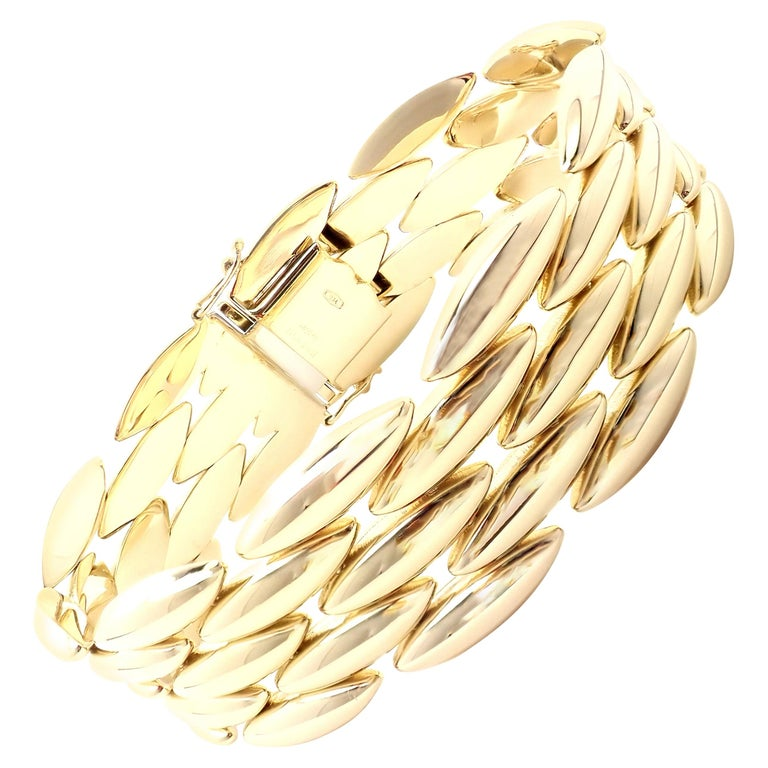 Cartier Gentiane Five-Row Wide Rice Yellow Gold Link Bracelet For Sale