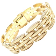 Cartier Gentiane Five-Row Wide Rice Yellow Gold Link Bracelet