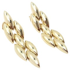Cartier Gentiane Three Row Rice Link Yellow Gold Earrings