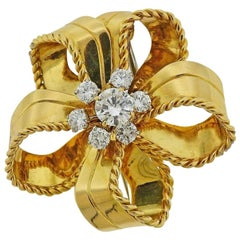 Cartier GIA 1.02 Carat I/VS2 Diamond Gold Brooch Pin