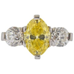 Cartier GIA 3.15 Carat Fancy Vivid Yellow VVS2 Marquise Diamond Engagement Ring