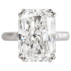 Cartier GIA Certified 10.17 Carat D SI1 Radiant Cut Diamond Solitaire Ring
