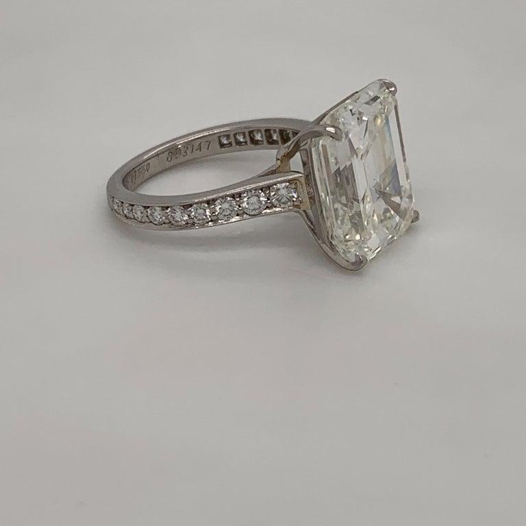 Women's Cartier GIA Certified 10.29 Carat Emerald Cut Diamond Ring For Sale