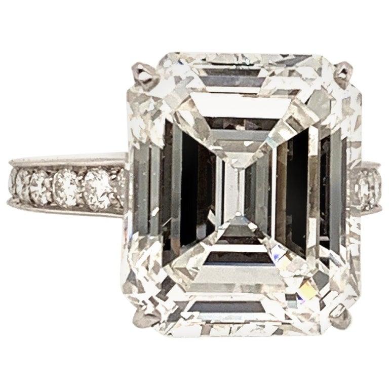 Cartier GIA Certified 10.29 Carat Emerald Cut Diamond Ring For Sale