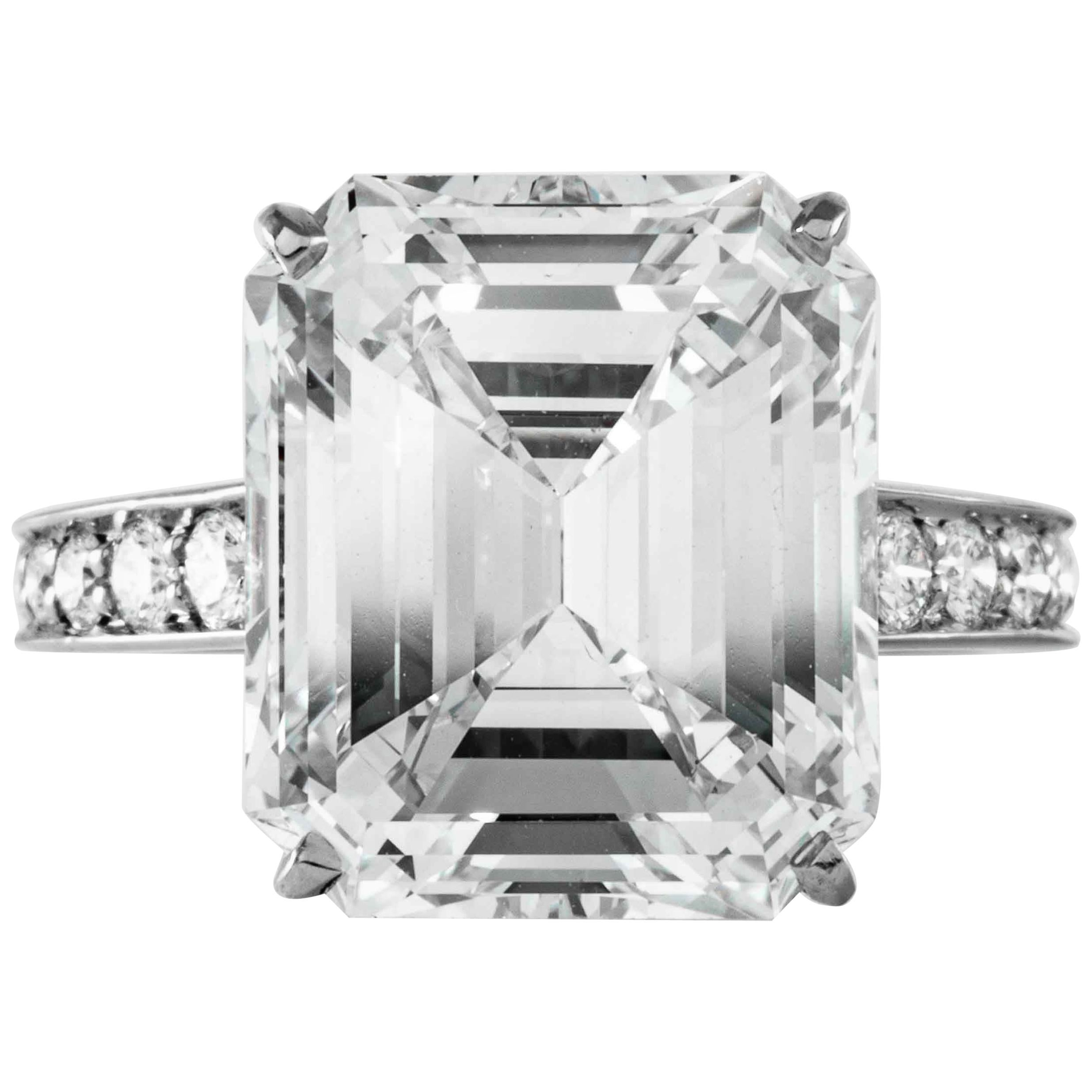 Cartier GIA Certified 10.29 Carat I VS2 Emerald Cut Diamond and Platinum Ring