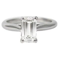 Cartier GIA Certified 1.34 Carat D SI1 Emerald Cut Diamond Solitaire Ring
