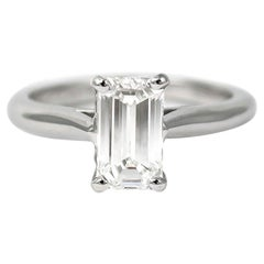 Cartier GIA Certified 1.34 Carat D SI1 Emerald Cut Diamond Solitaire Ring