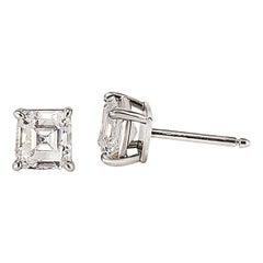 Cartier GIA Certified 2.24 Carat Emerald Cut Diamond Stud Earrings