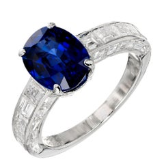 Cartier GIA Certified 3.09 Carat Oval Sapphire Diamond Platinum Engagement Ring