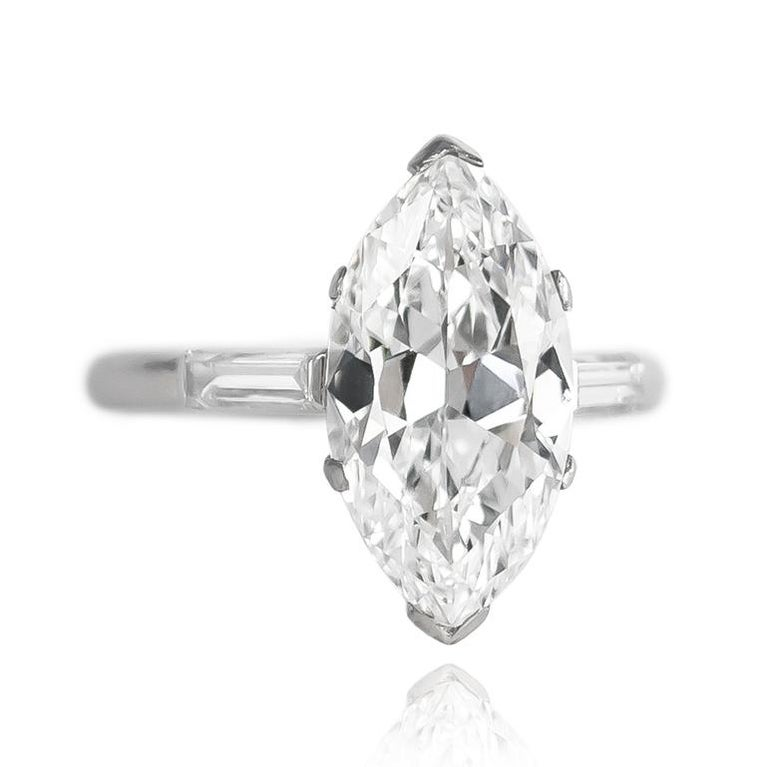 Marquise Cut Cartier GIA Certified Type IIA 4.06 Carat D VS1 Marquise Diamond Ring For Sale