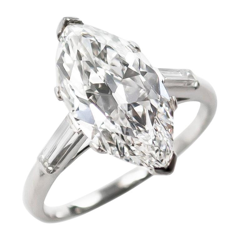 Cartier GIA Certified Type IIA 4.06 Carat D VS1 Marquise Diamond Ring For Sale