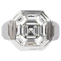 Cartier GIA Certified 5.18 Carat Asscher Cut Solitaire Ring