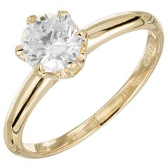 Cartier GIA Certified .72 Carat Diamond Yellow Gold Solitaire Engagement Ring