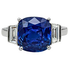 Cartier GIA Certified Kashmir Blue Sapphire and Diamond Three-Stone Ring