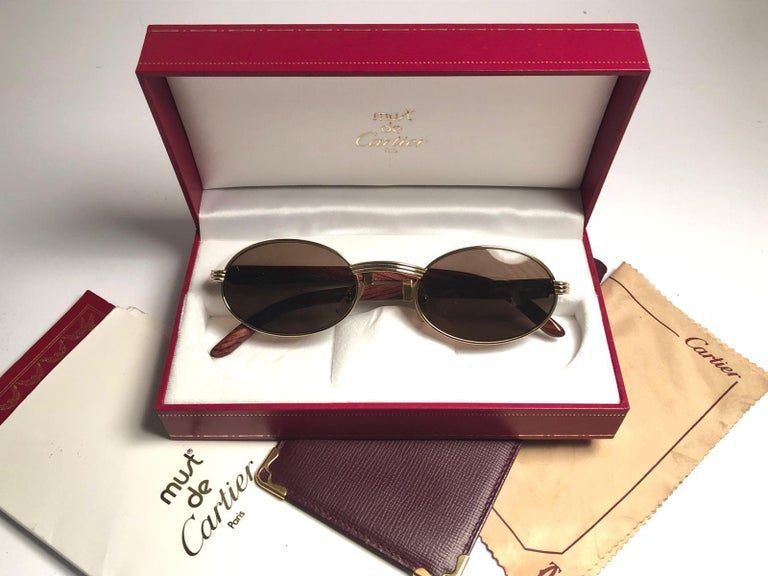 092d2dfc007a Cartier Sully New Gold and Wood 53 22 Full Set Brown Lens France Sunglasses  For