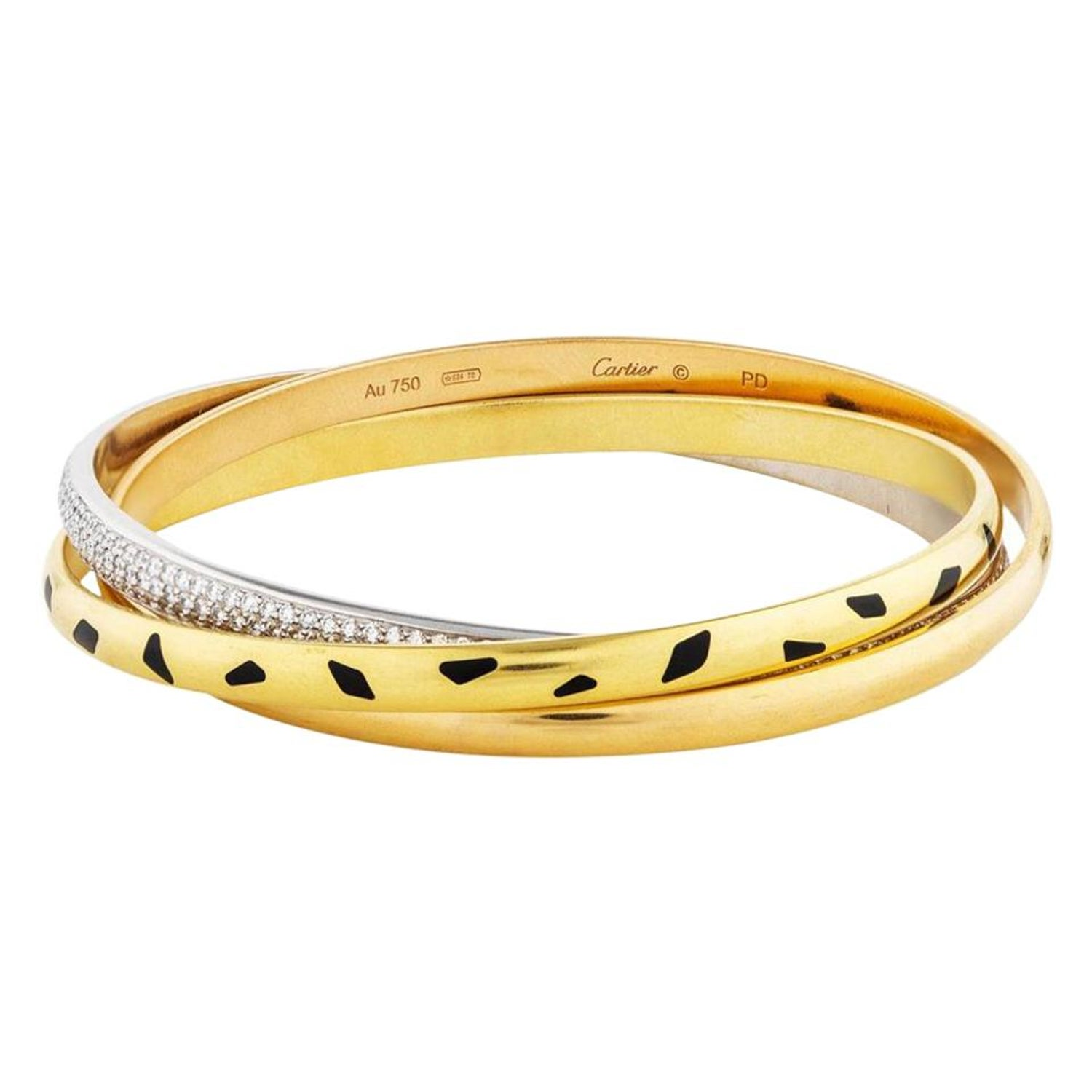 Cartier Trinity Panthere 18k Yellow Gold Diamond Slip On Bangle For Sale At 1stdibs