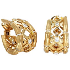 Cartier French Diamond Gold Bamboo Hoop Earrings