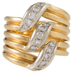 Cartier Gold and Diamond Stack Ring