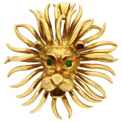 Cartier Gold and Emerald Lion Brooch