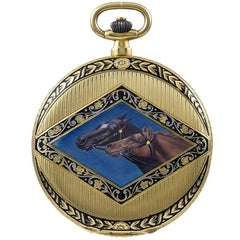 Cartier Yellow Gold Enamel Mechanical Pocket Watch