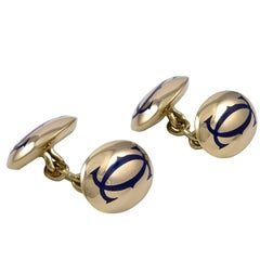 Cartier Gold and Enamel Signature Cufflinks