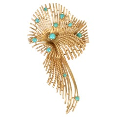 Cartier Gold and Turquoise Brooch