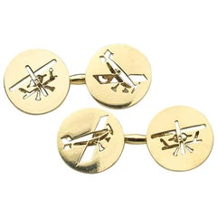 Cartier Gold Biplane Cufflinks, Inspired by Louis Blériot