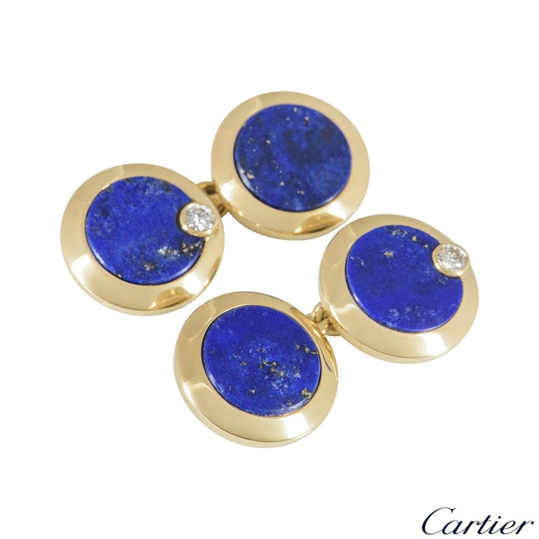 Cartier Gold, Diamond and Lapis Lazuli Cufflinks In Excellent Condition For Sale In London, GB