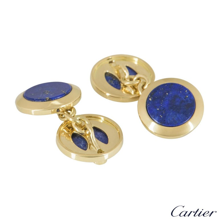 Men's Cartier Gold, Diamond and Lapis Lazuli Cufflinks For Sale