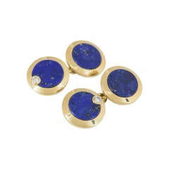 Cartier Gold, Diamond and Lapis Lazuli Cufflinks