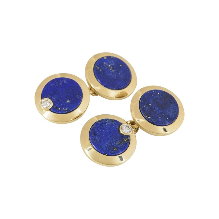 Cartier Gold, Diamond and Lapis Lazuli Cufflinks For Sale