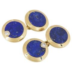 Cartier Gold, Diamond and Lapis Lazuli Cufflinks