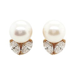 Cartier Gold Diamond Pearl Earrings
