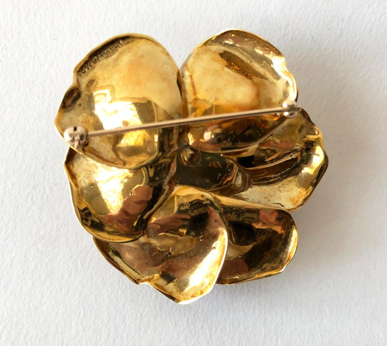 Women's Cartier Gold Diamond Rose Flower Brooch and Earrings Set For Sale