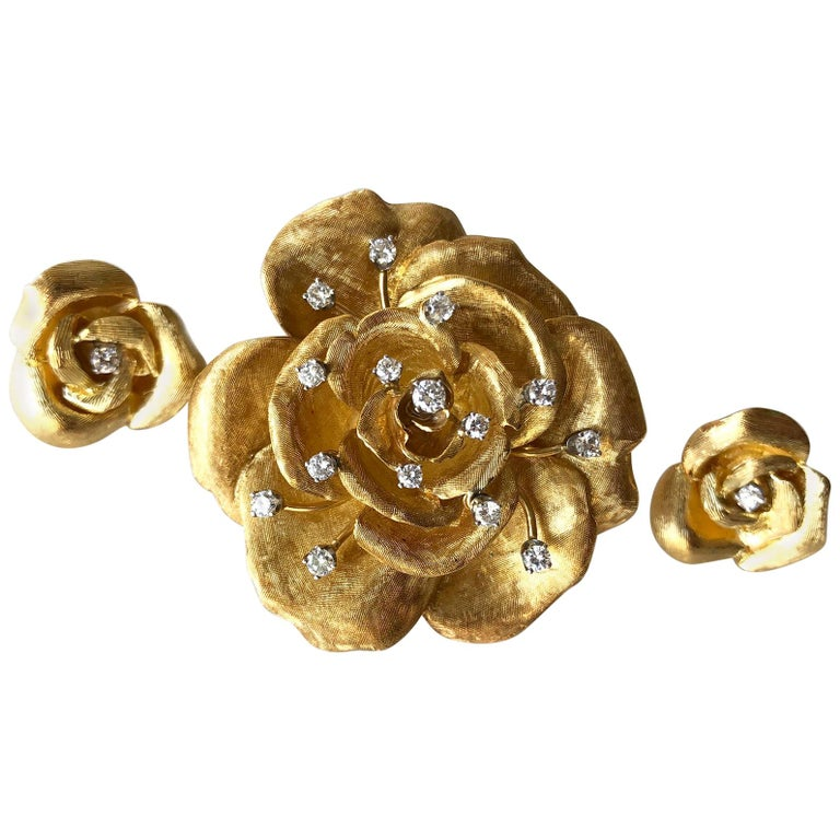 Cartier Gold Diamond Rose Flower Brooch and Earrings Set For Sale