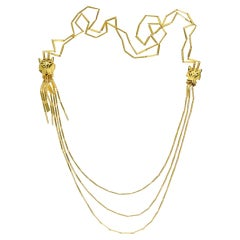 Cartier Gold Double Head Tassel Panthere Multi Strand Vintage Necklace