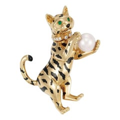 Cartier Gold Enamel Cultured Pearl Diamond and Emerald Cat Tiger Clip Brooch