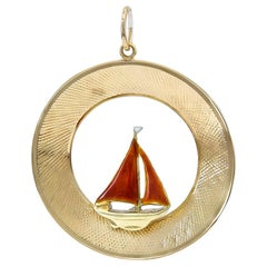 Cartier Gold and Enamel Sailboat Charm