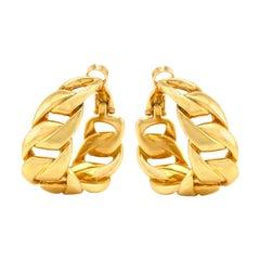 Cartier Gold Hoop Clip-On Link Earrings