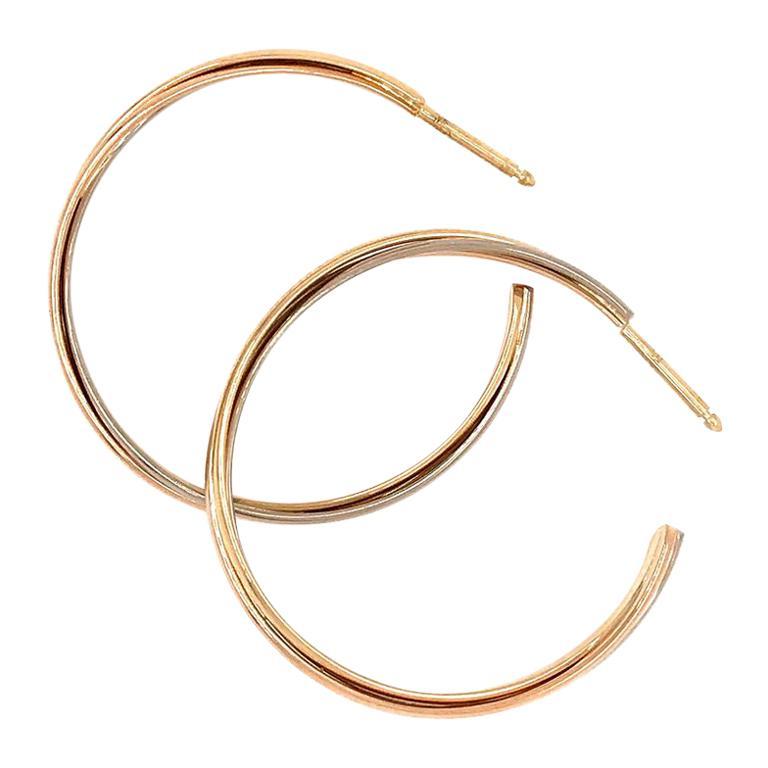 Cartier Gold Hoop Tri-Color Pierced Push Backs Earrings