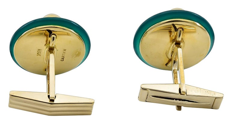 Cartier Gold and Jade Cufflinks In Excellent Condition For Sale In New York, NY